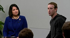 Facebook founder and CEO Mark Zuckerberg speaks during an event promoting the end of his nationwide tour, Friday, Nov. 10, 2017, at the Lied Center on the University of Kansas campus. The event, which was unannounced by KU and closed to media and members of the public, was hosted by University of Kansas Provost Neeli Bendapudi.