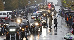 Veterans on motorcycles ride down Massachusetts Street in the Veteran's Day parade on Saturday, Nov. 11, 2017.