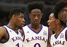 Kansas guard Devonte' Graham (4) pulls his teammates together in a huddle during the first half on Tuesday, Nov. 14, 2017 at United Center.