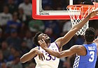 Kansas center Udoka Azubuike (35) defends against a shot from Kentucky guard Hamidou Diallo (3) during the first half on Tuesday, Nov. 14, 2017 at United Center.
