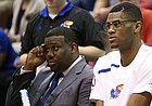 Kansas forward Billy Preston (23) sits on the bench during the second half on Friday, Nov. 17, 2017 at Allen Fieldhouse.