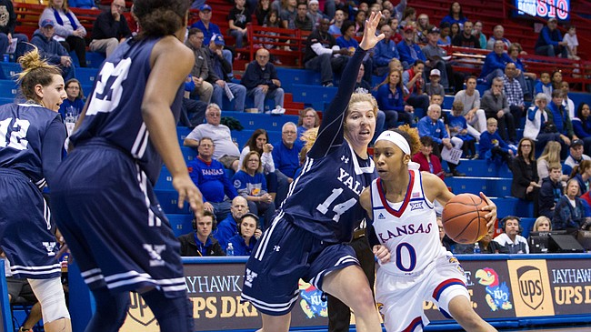 Kansas' Christalah Lyons (0) drives past Yale's Mary Ann Santucci (14) Sunday at Allen Fieldhouse. The Jayhawks topped Yale, 81-75.
