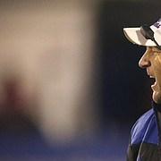Kansas head coach David Beaty yells at a player during the third quarter on Saturday, Nov. 18, 2017 at Memorial Stadium.