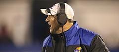 Kansas head coach David Beaty yells at a player during the third quarter on Saturday, Nov. 18, 2017 at Memorial Stadium.