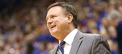 Kansas head coach Bill Self has a laugh with an official during the second half, Tuesday, Nov. 21, 2017 at Allen Fieldhouse.