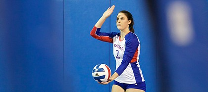 Kansas senior Tori Miller prepares to serve against Oklahoma on Wednesday, Oct. 25, 2017 at Horejsi Family Athletics Center.
