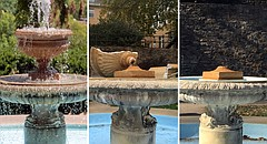 The Alumni Place Fountain on the University of Kansas campus is pictured in 2014, at left; shortly after an act of vandalism in November 2016, center; and Friday, Nov. 24, 2017, at right.
