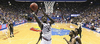 Kansas center Udoka Azubuike (35) puts in a bucket against the Oakland defense during the second half on Friday, Nov. 24, 2017 at Allen Fieldhouse.