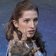 "Noelle Olson, as Belle, reacts to the offered hand of the Beast, played by Andrew Ramaley, in a scene from ""Beauty and the Beast,"" opening Dec. 1 at Theatre Lawrence."