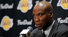 Los Angeles Lakers head coach Byron Scott talks to the media, Sunday, Nov. 29, 2015. (AP Photo/Alex Gallardo)
