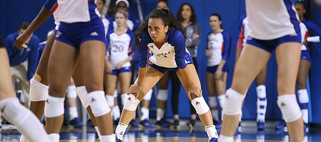 Kansas setter Ainise Havili (11) gets ready for a serve by Texas during the second set on Wednesday, Oct. 11, 2017 at Horejsi Center.