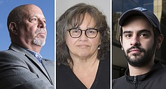 From left, KU business professor Bob Augelli, KU Spanish and Portuguese professor Santa Arias and KU graduate student Bryan Rodriguez-Colon all have family members who were impacted when Hurricane Maria hit Puerto Rico in September.