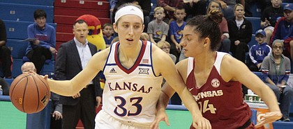 Kansas junior guard Kylee Kopatich looks to dribble past Arkansas guard Jailyn Mason in the second half of the Jayhawks' 71-60 win over the Razorbacks on Sunday during the Big 12/SEC Challenge at Allen Fieldhouse. Kopatich scored 18 of her career-high 26 points in the second half.