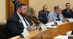 Rep. Blaine Finch, R-Ottawa, chairman of a special interim committee dealing with the ongoing school finance lawsuit, asks a question during a committee meeting Monday, Dec. 4.