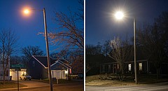 A non-LED streetlight, left, stands in the 1600 block of Matthew Terrace, and an LED streetlight, right, stands in the 1600 block of Lindenwood Lane.