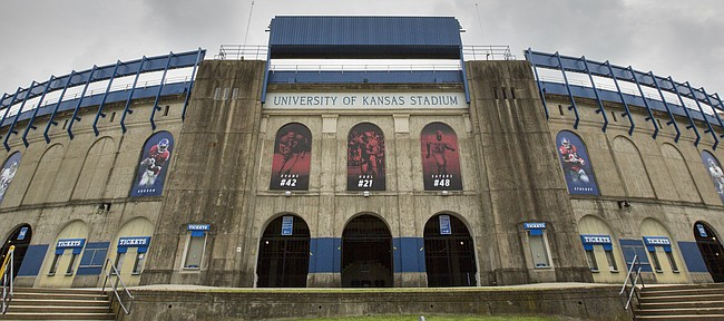 Banners of famed Kansas football players have been added to many of the archways set within the north end of Memorial Stadium. The stadium is pictured on Monday, Aug. 7, 2017.