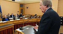 Nick Jordan, interim secretary of the Kansas Department of Commerce, testifies Dec. 5, 2017, before an interim committee about Sales Tax and Revenue, or STAR, bonds, an economic development tool used to finance development of retail districts like the Village West shopping and sports complex in Wyandotte County.