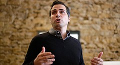 In this file photo from Nov. 1, 2014, Greg Orman talks to supporters during a senate campaign event in Topeka, Kan. (AP Photo/Charlie Riedel)