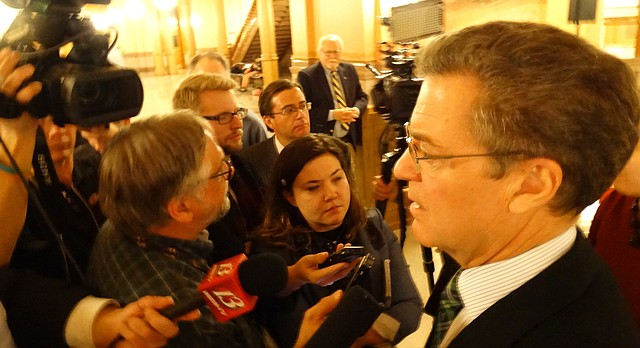 Gov. Sam Brownback tells reporters he does not plan to step down as governor unless or until he is confirmed as President Donald Trump's Ambassador-at-large for International Religious Freedom.