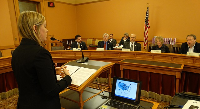 Mirielle Burgoyne of the Pew Charitable Trusts answers questions from a joint legislative Commerce Committee about how the state can do a better job of tracking the effectiveness of its economic development incentives.