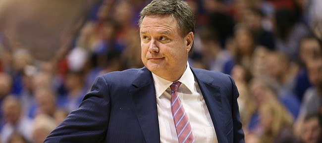 Kansas head coach Bill Self casts a look at his players during the second half on Friday, Nov. 24, 2017 at Allen Fieldhouse.
