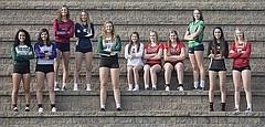 The 2017 Journal-World All-Area volleyball team, from left, Cameryn Thomas, Free State; Audrey Flowers, Baldwin; Riley Foltz, Eudora; Chloe Holland, Veritas Christian; Player of the YearRachel Hickman, Free State; Lauren Maceli, Lawrence; Laurel Bird, Lawrence; Sammy Williams, Lawrence; Lindsey Hornberger, Bishop Seabury; Talisa Stone, Perry-Lecompton; and Lauren Willson, Tonganoxie. Not pictures is Coach of the YearStephanie Scarbrough, Lawrence.