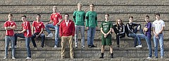 The 2017 Journal-World All-Area boys soccer team, from left, Jens Ahlen, Tonganoxie; Isaiah Frese, Tonganoxie; Bowan Jones, Tonganoxie; Zeb Huseman, Tonganoxie; Coach of the YearJon Orndorff, Tonganoxie; Player of the Year Charlie Newsome, Free State; Nick Howard, Free State; Evan McHenry, Bishop Seabury; Cole Shupert, Lawrence; Ben Matthews, Lawrence; Blayne Chapman, Baldwin; and Jon Bock, Eudora.