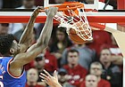 Kansas center Udoka Azubuike (35) delivers a dunk before Nebraska forward Isaiah Roby (15) during the first half, Saturday, Dec. 16, 2017 at Pinnacle Bank Arena in Lincoln, Nebraska.