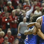 Kansas center Udoka Azubuike (35) and the Jayhawks huddle up during the second half, Saturday, Dec. 16, 2017 at Pinnacle Bank Arena in Lincoln, Nebraska.
