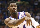 Kansas guard Malik Newman (14) throws a pass during the first half on Monday, Dec. 18, 2017 at Allen Fieldhouse.