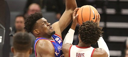 Kansas center Udoka Azubuike (35) gets up to defend against Stanford guard Daejon Davis (1) during the first half, Thursday, Dec. 21, 2017 at Golden 1 Center in Sacramento, California.