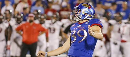 Kansas place kicker Gabriel Rui (39) watches his kick on a field goal attempt during the fourth quarter on Saturday, Sept. 2, 2017 at Memorial Stadium.