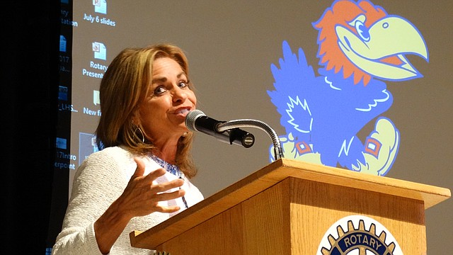 In this file photo from Aug. 24, 2017, U.S. Rep. Lynn Jenkins addresses the Jayhawk Rotary Club in Lawrence, saying she plans to leave Congress after her term.