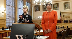 Wendy Doyle, left, president and CEO of the Women's Foundation based in Kansas City, Mo., and Senate President Susan Wagle, R-Wichita, announce a list of recommendations to address and prevent sexual harassment in the Kansas Statehouse, Friday, Dec. 29, 2017.