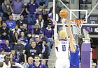 Kansas forward Mitch Lightfoot (44) tips a three from TCU guard Jaylen Fisher (0) with seconds left in regulation, Saturday, Jan. 6, 2018 at Schollmaier Arena.