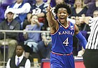 Kansas guard Devonte' Graham (4) signals the ball going the Jayhawks way during the second half, Saturday, Jan. 6, 2018 at Schollmaier Arena.