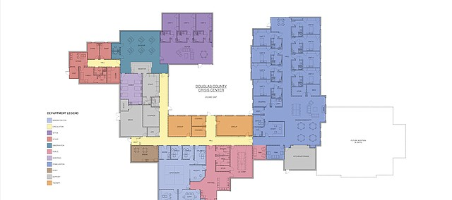 The plans for the proposed Behavioral Health Crisis Intervention Center include a sobering room and three-room, six-bed detox unit. The two substance abuse units are shown in purple on the left side of the drawing.