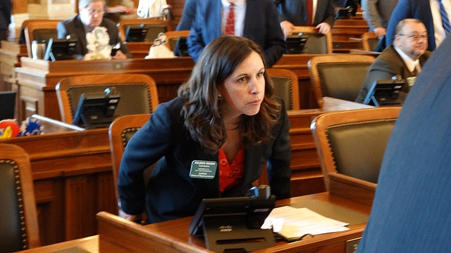Rep. Eileen Horn, D-Lawrence, the newest member of the Kansas House, takes her seat for the first time as the 2018 legislative session got underway Monday.