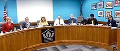 The Lawrence school board has set the goal of hiring the district's next superintendent on Jan. 29. Form the left, the board is President Shannon Kimball, Vice President Jessica Beeson, Jill Fincher, G.R. Gordon-Ross, Rick Ingram, Melissa Johnson and Kelly Jones.