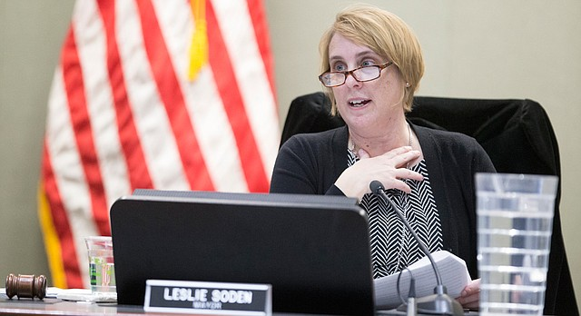 Outgoing Lawrence Mayor Leslie Soden delivers the State of the City address during the Lawrence City Commission meeting on Monday, Jan. 8, 2018 at City Hall.