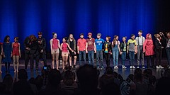 Student performers share the stage together during the first-ever Ovation! talent show Jan. 22, 2017 at the Lied Center, 1600 Stewart Drive. This year's show, once again benefitting the Lawrence Schools Foundation, is slated for 7:30 p.m. Jan. 21 and will once again feature middle and high school students from across the Lawrence district.