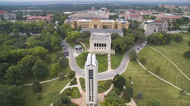 An aerial photo of the University of Kansas campus in August 2015.