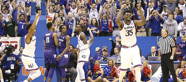 Kansas center Udoka Azubuike (35) and the Jayhawks celebrate after a last second shot by Kansas State guard Barry Brown missed, securing the game for the Jayhawks, Saturday, Jan. 13, 2018 at Allen Fieldhouse.