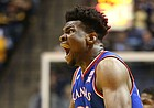 Kansas center Udoka Azubuike (35) reacts after being whistled for a technical following a dunk during the first half, Monday, Jan. 15, 2018 at WVU Coliseum in Morgantown, West Virginia.