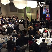 Andrew Williams, associate dean of diversity, equity and inclusion at the University of Kansas' school of engineering, gives the keynote speech at the annual Martin Luther King Jr. Community Breakfast, Monday, Jan. 15, 2018 at Maceli's, 1031 New Hampshire St.