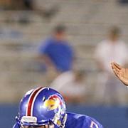Kansas quarterback Tyriek Starks (18) waits for the snap during the fourth quarter on Saturday, Sept. 2, 2017 at Memorial Stadium.