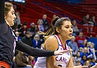 Kansas guard Brianna Osorio (2) looks to pass the ball while being guarded by Texas Tech's Grayson Bright on Wednesday at Allen Fieldhouse.