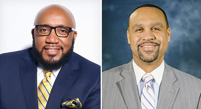 The Lawrence school board has announced two finalists for its open superintendent position. They are, from left, Anthony Lewis, an assistant superintendent in the Kansas City, Mo., school district, and Jayson Strickland, a deputy superintendent in the neighboring Kansas City, Kan., school district.