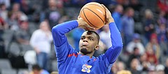 Kansas junior Lagerald Vick warms up prior to the Jayhawks' matchup with Stanford, in Sacramento, Calif.