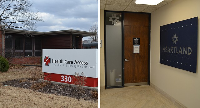 At left is Health Care Access, 330 Maine St.; at right is the entrance to Heartland Community Health Center, 346 Maine St., Suite 150. Both are shown Friday, Jan. 26, 2018. Effective Feb. 1, 2018, the two clinics will merge and operate under Heartland's leadership.
